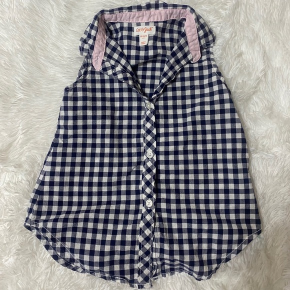Gingham girls tank top